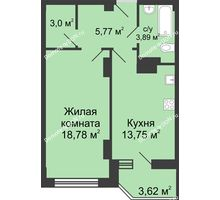1 комнатная квартира 47,01 м² в ЖК Сердце Ростова, дом Этап II