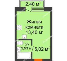 Студия 23,07 м² в ЖК Лайм, дом № 1, Вторая очередь - планировка