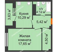 1 комнатная квартира 44,27 м² в ЖК Облака, дом № 2 - планировка
