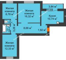 3 комнатная квартира 67,58 м² в Микрорайон Нанжуль-Солнечный, дом № 9 - планировка