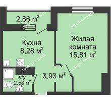 1 комнатная квартира 32,03 м² в ЖК Бурнаковский, дом № 38 - планировка