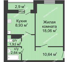 1 комнатная квартира 43,65 м² в ЖК Бурнаковский, дом № 38