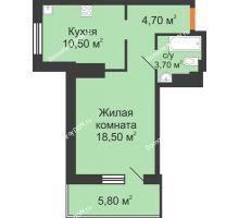 1 комнатная квартира 43,2 м², ЖК Вершина - планировка