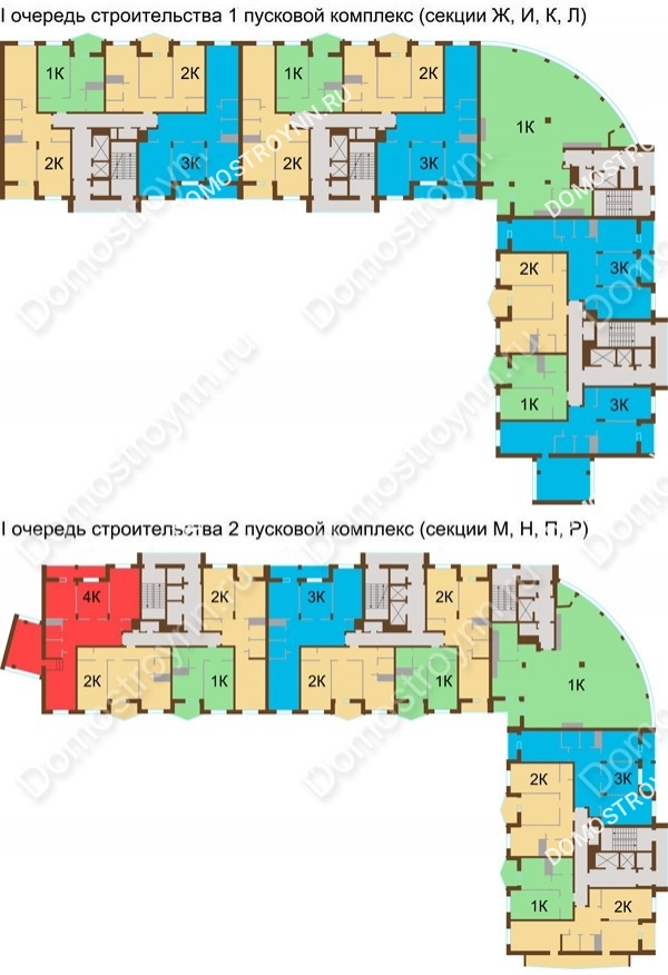 Планировка 17 этажа в доме № 89, корп. 1, 2 в ЖК Монолит