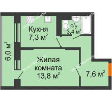 1 комнатная квартира 33,9 м² в ЖК Жюль Верн, дом № 1 корпус 2