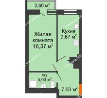 1 комнатная квартира 38,06 м² в ЖК Мечников, дом ул. Таврическая, 4 - планировка