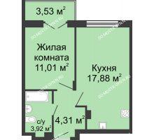 1 комнатная квартира 38,88 м² в ЖК Клевер, дом № 1