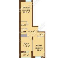 2 комнатная квартира 76 м² в ЖК Монолит, дом № 89, корп. 1, 2 - планировка