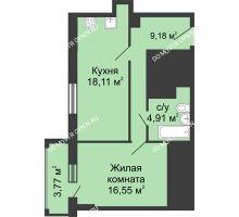 1 комнатная квартира 50,64 м², ЖК Гелиос - планировка