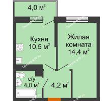 1 комнатная квартира 34,3 м² в ЖК Отражение, дом Литер 2.2 - планировка