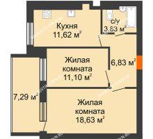 2 комнатная квартира 55,66 м² в ЖК Свобода, дом 1 очередь