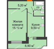 1 комнатная квартира 35,7 м² в ЖК Победный, дом Литер 3 - планировка