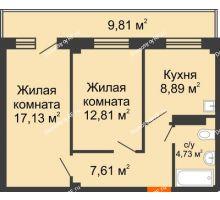 2 комнатная квартира 54,11 м², Жилой дом в 7 мкрн.г.Сосновоборск - планировка