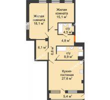 2 комнатная квартира 94,24 м² в ЖК Георгиевский, дом 6 - планировка