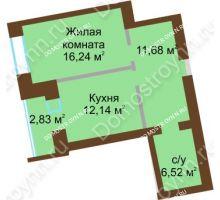 1 комнатная квартира 47,995 м² в ЖК Солнечный город, дом на участке № 214