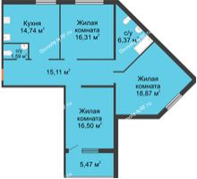 3 комнатная квартира 89,49 м² в ЖК Квартет, дом ГП-227 - планировка