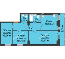 3 комнатная квартира 80,17 м² - ЖК Семейный