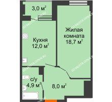 1 комнатная квартира 45,1 м² в ЖК Квартет, дом № 3 - планировка