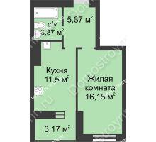1 комнатная квартира 40,56 м² - ЖК Буревестник