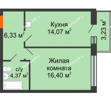 1 комнатная квартира 41,17 м² в ЖК Бограда 109, дом № 2 - планировка