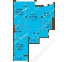 3 комнатная квартира 124,4 м², ЖК Бояр Палас - планировка