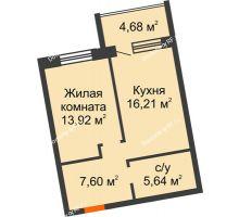 1 комнатная квартира 43,37 м² в ЖК Шоколад , дом ГП-1 - планировка