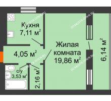 1 комнатная квартира 39,78 м², ЖК Дом у озера - планировка