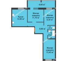 3 комнатная квартира 67,3 м² в ЖК Удачный 2, дом № 1 - планировка