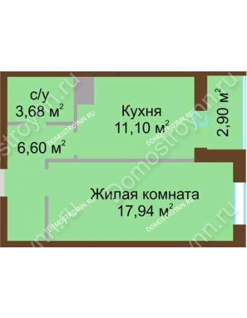 1 комнатная квартира 42,14 м² в ЖК Красная поляна, дом № 2