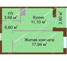 1 комнатная квартира 42,4 м² в ЖК Красная поляна, дом № 2