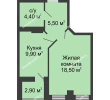 1 комнатная квартира 39,75 м² в ЖК Новый Город, дом № 3 - планировка