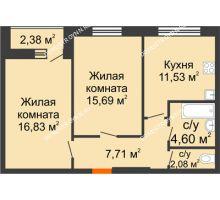 2 комнатная квартира 59,63 м², ЖК На Высоте - планировка