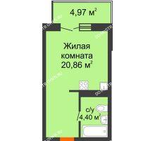 Студия 26,75 м² в ЖК КМ Анкудиновский парк, дом № 20 - планировка