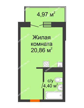 Студия 26,75 м² в ЖК КМ Анкудиновский парк, дом № 20
