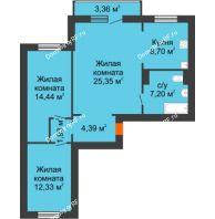 3 комнатная квартира 75,35 м² в ЖК Иннoкeнтьeвcкий, дом №7а - планировка