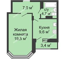 1 комнатная квартира 42,4 м² в ЖК Цветы, дом № 20 - планировка