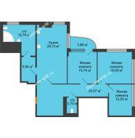Студия 124,4 м², Жилой дом на ул. Платонова, 9,11 - планировка