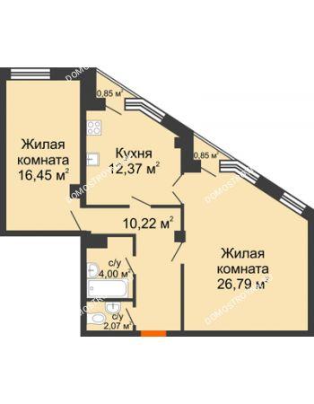 2 комнатная квартира 72,41 м² в ЖК Дом на Провиантской, дом № 12