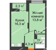 1 комнатная квартира 40,75 м² в ЖК Заречье, дом №1, секция 2 - планировка