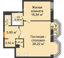 2 комнатная квартира 72,08 м², ЖК Дом на Гребешке - планировка