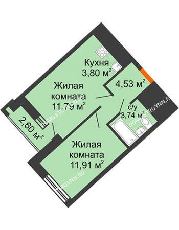 1 комнатная квартира 37,17 м² в ЖК Дом на Набережной, дом № 1