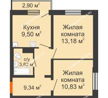 2 комнатная квартира 47,54 м² в ЖК Торпедо, дом № 16 - планировка