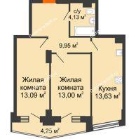 2 комнатная квартира 56,1 м² в ЖК Рубин, дом Литер 3 - планировка