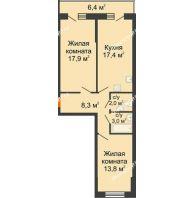 2 комнатная квартира 65,6 м² в ЖК Парк Победы, дом Литер 2 - планировка