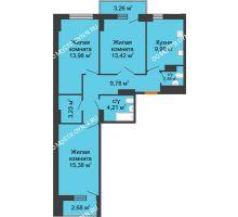 3 комнатная квартира 74,81 м², ЖК Орбита - планировка