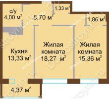 2 комнатная квартира 65,04 м² в ЖК Дворянский, дом № 1 - планировка