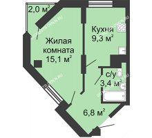 1 комнатная квартира 34,6 м², Жилой дом: ул. Сазанова, д. 15 - планировка