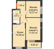 2 комнатная квартира 57,55 м², ЖК ПАРК - планировка
