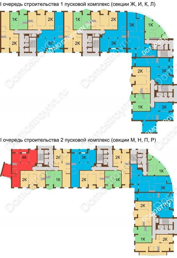 Планировка 13 этажа в доме № 89, корп. 1, 2 в ЖК Монолит