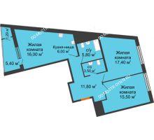 3 комнатная квартира 82,6 м² в ЖК Маршал Град, дом № 3 - планировка
